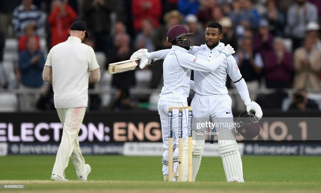 West Indies batsman Shai Hope (r) celebrates his century with Jermaine Blackwood during day five of the 2nd Investec Test Match between England and West Indies at Headingley on August 29, 2017 in Leeds, England.