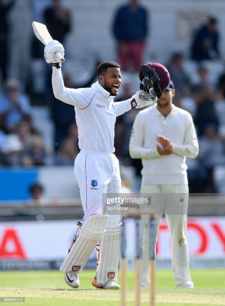 West Indies batsman Shai Hope celebrates reaching his century during day two of the 2nd Investec Test match between England and West Indies at Headingley on August 26, 2017 in Leeds, England.