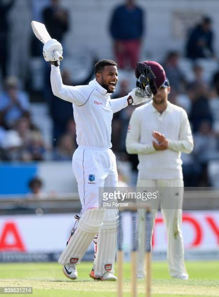West Indies batsman Shai Hope celebrates reaching his century during day two of the 2nd Investec Test match between England and West Indies at...