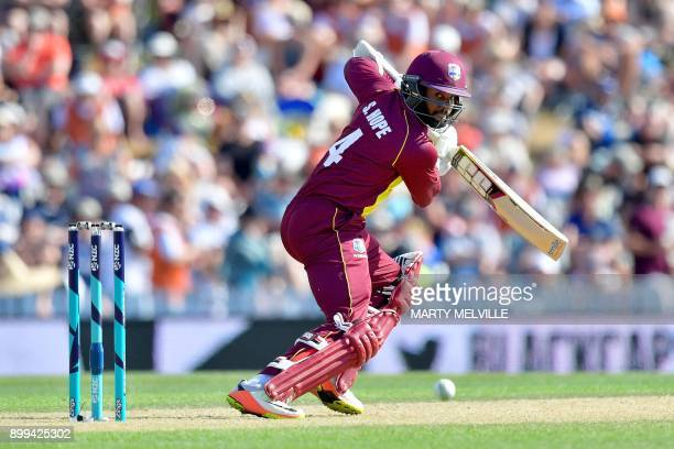 West Indies batsman Shai Hope plays a shot during the first Twenty20 international cricket match between New Zealand and the West Indies at Saxton...