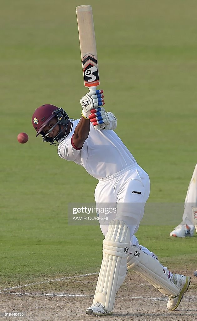 West Indies' batsman Shane Dowrich plays a shot on the second day of the third and final Test between Pakistan and the West Indies at the Sharjah Cricket Stadium in Sharjah on October 31, 2016. Pakistan, resuming at 255-8, were dismissed for 281 in their first innings on the second day of the third and final Test against West Indies in Sharjah. / AFP / AAMIR