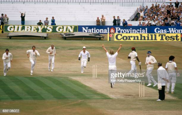 West Indies batsman Viv Richards walks off after being dismissed by England bowler Paul Allott for 15 caught behind by wicketkeeper Paul Downton...