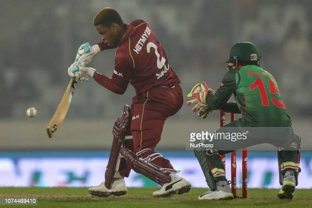West Indies Bcricketer Shimron Hetmyer plays a shot during the second T20 match between Bangladesh against West Indies in Mirpur Dhaka Bangladesh on...