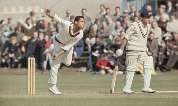 West Indies bowler Garry Sobers in bowling action during a tour match in England circa 1966 in England United Kingdom