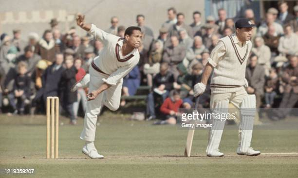 West Indies bowler Garry Sobers in bowling action during a tour match in England circa 1966 in England, United Kingdom.