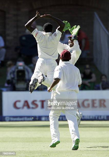 West Indies bowler Jerome Taylor celebrates 27 December 2007 the dismissal of South African batsman and captain Graeme Smith during the second day of...