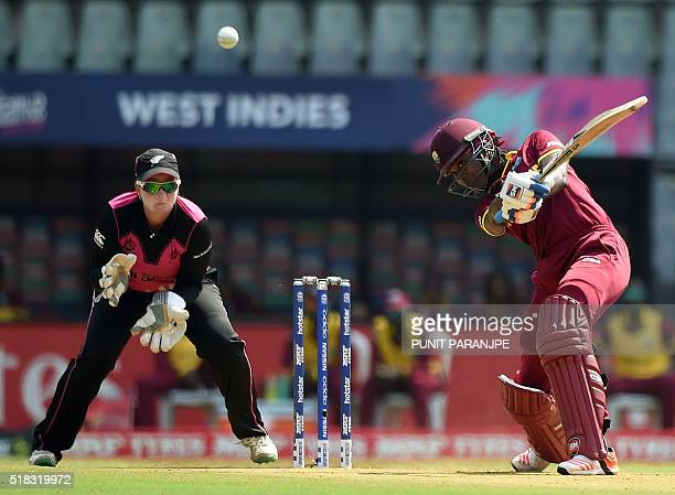 West Indies' Britney Cooper plays a shot during the World T20 women's semifinal match between New Zealand and West Indies in Mumbai on March 31 2016...