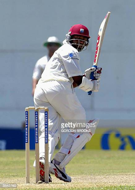West Indies captain Brian Lara legglancing en route to his undefeated 400 on the third day of the fourth and final CW Test against England 12 April...