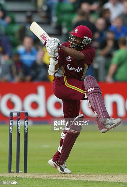West Indies captain Brian Lara pulls a ball for four runs during his half century during the 6th Natwest Series game between New Zealand and the West...