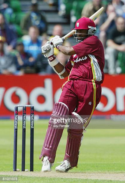 West Indies captain Brian Lara pulls a ball for four runs on his way to a half century during the 6th Natwest Series game between New Zealand and the...