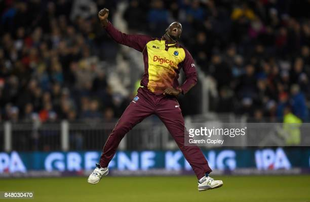 West Indies captain Carlos Brathwaite celebates dismissing Liam Plunkett of England to win the NatWest T20 International match between England and...