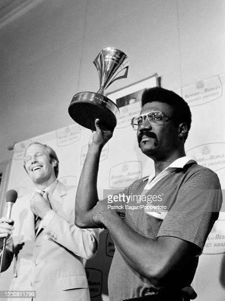 West Indies captain Clive Lloyd holds up the Benson and Hedges Cup during the presentation ceremony after the 2nd Benson and Hedges World Series Cup...