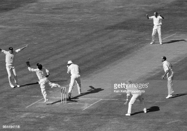 West Indies captain Clive Lloyd is caught behind for 50 runs by England wicketkeeper Alan Knott off the bowling of Derek Underwood during the 2nd...