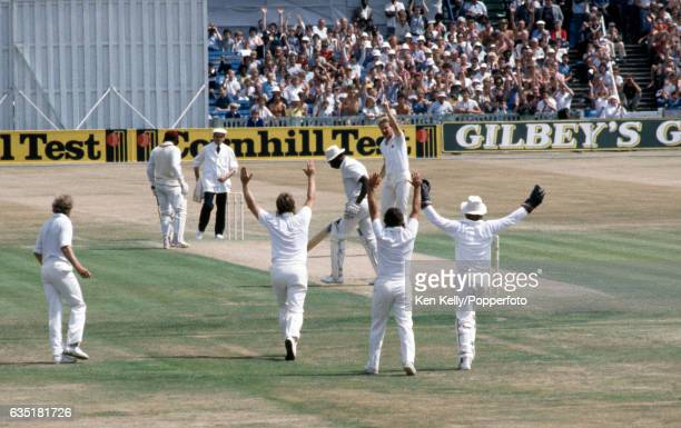 West Indies captain Clive Lloyd is dismissed for 1 run by England bowler Paul Allott caught by England wicketkeeper Paul Downton during the 4th Test...
