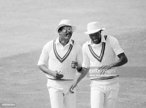 West Indies captain Clive Lloyd laughing with Roger Harper during the 1st Test match against England at Edgbaston in Birmingham, 14th June 1984. West...