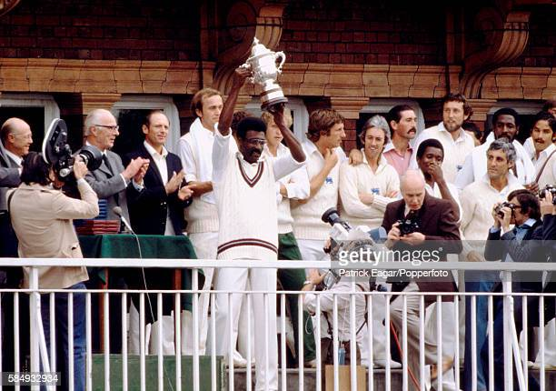 West Indies captain Clive Lloyd raises the World Cup after the West Indies beat England in the Prudential World Cup Final at Lord's Cricket Ground,...