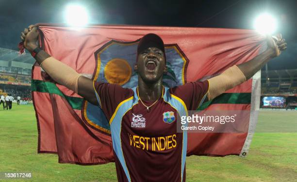 West Indies captain Darren Sammy celebrates winning the ICC World Twenty20 2012 Final between Sri Lanka and the West Indies at R Premadasa Stadium on...