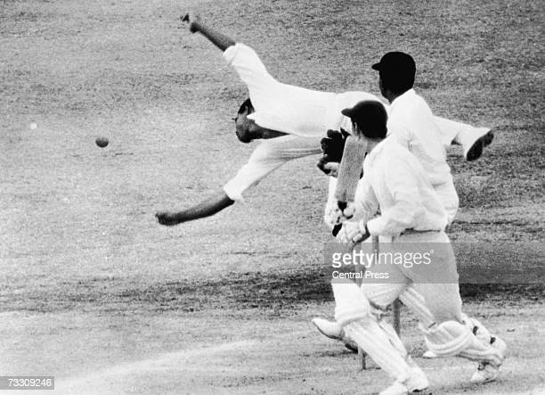 West Indies captain Gary Sobers dives to catch a shot from Knott during the fourth day of the 4th test match against England at the Queen's Park...