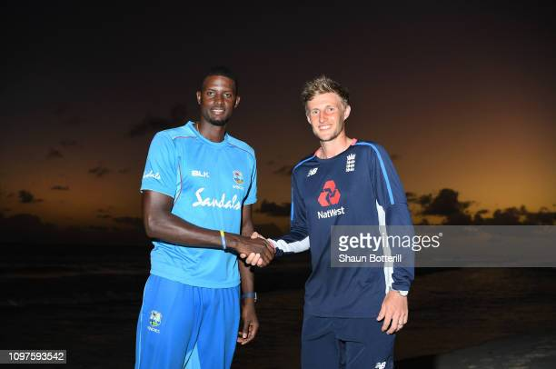 West Indies captain Jason Holder and England captain Joe Root shake hands at the Accra Hotel on January 21 2019 in Bridgetown Barbados