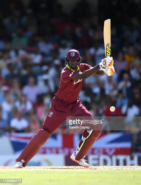 West Indies captain Jason Holder bats during the 1st One Day International match between the West Indies and England at Kensington Oval on February...