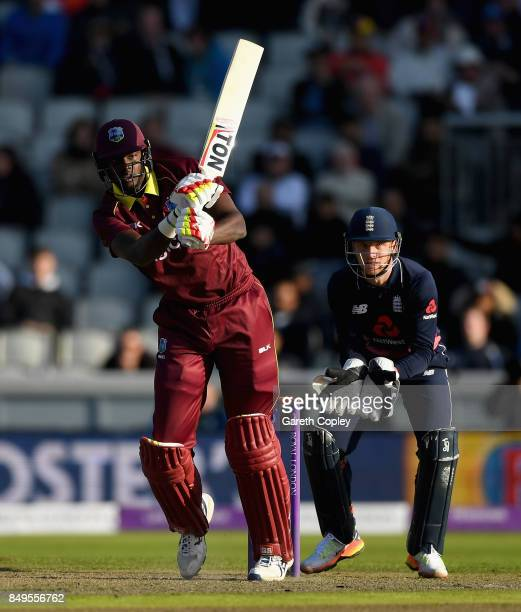 West Indies captain Jason Holder bats during the 1st Royal London One Day International match between England and the West Indies at Old Trafford on...