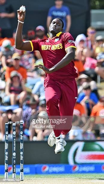 West Indies captain Jason Holder bowls to the Pakistan batsman during their 2015 Cricket World Cup Group B match in Christchurch on February 21 2015...
