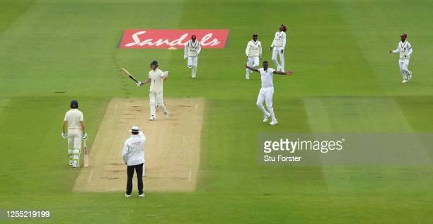 West Indies captain Jason Holder celebrates dismissing England captain Ben Stokes during day two of the 1st #RaiseTheBat Test match at The Ageas Bowl...