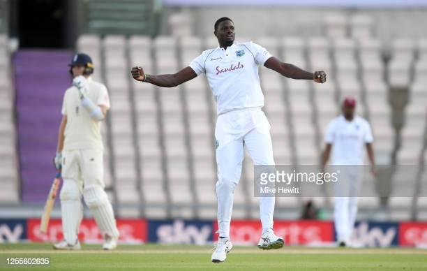 West Indies captain Jason Holder celebrates dismissing England captain Ben Stokes during day four of the 1st #RaiseTheBat Test match at The Ageas...