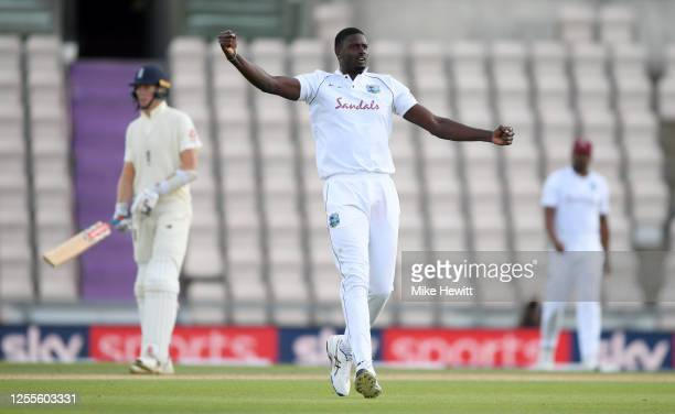 West Indies captain Jason Holder celebrates dismissing England captain Ben Stokes during day four of the 1st #RaiseTheBat Test match at The Ageas...