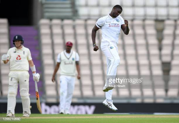 West Indies captain Jason Holder celebrates dismissing Mark Wood of England during day two of the 1st #RaiseTheBat Test match at The Ageas Bowl on...