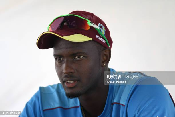 West Indies captain Jason Holder during a net session at Sir Vivian Richards Stadium on January 30, 2019 in St John's, Antigua and Barbuda.