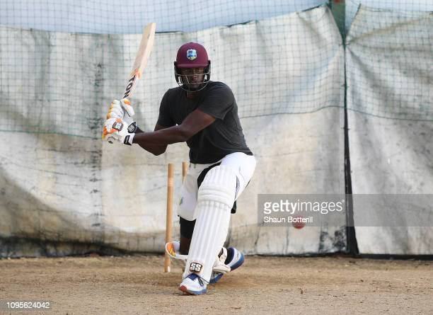 West Indies captain Jason Holder has a net at the ground during day one of the match between West Indies Board XI and England at the Three Ws Oval on...