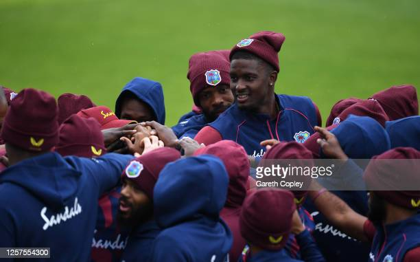 West Indies captain Jason Holder huddles with his teammates prior to a West Indies Nets Session at Emirates Old Trafford on July 22, 2020 in...