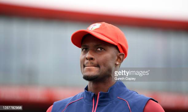 West Indies captain Jason Holder is interviewed whilst wearing his Ruth Strauss Foundation hat during a West Indies Nets Session at Emirates Old...