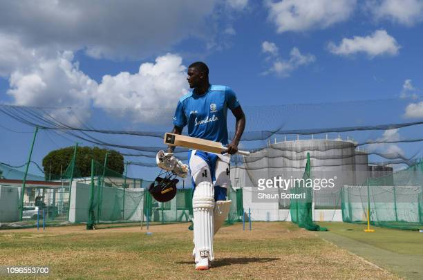 West Indies captain Jason Holder leaves the nets during a net practice at Kensington Oval on January 19 2019 in Bridgetown Barbados