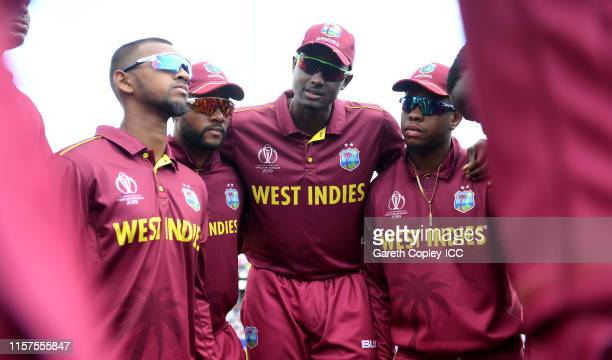 West Indies captain Jason Holder speaks to his team ahead of the Group Stage match of the ICC Cricket World Cup 2019 between West Indies and New...