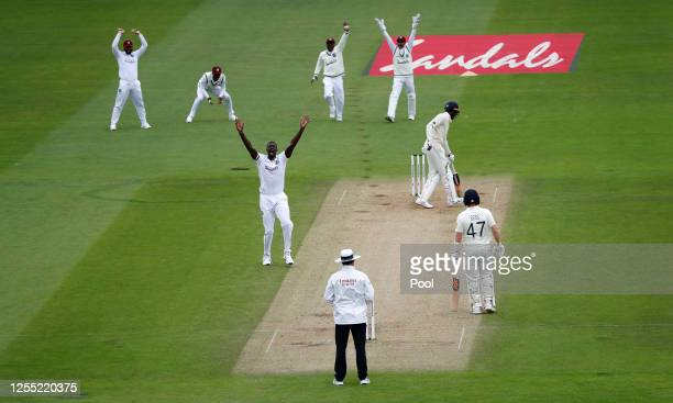 West Indies captain Jason Holder successfully appeals for the wicket of Jofra Archer of England during day two of the 1st #RaiseTheBat Test match at...