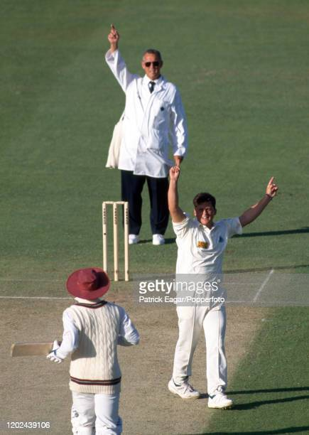 West Indies captain Richie Richardson is given out LBW to Darren Gough of England by umpire John Hampshire during the 3rd Texaco Trophy One Day...