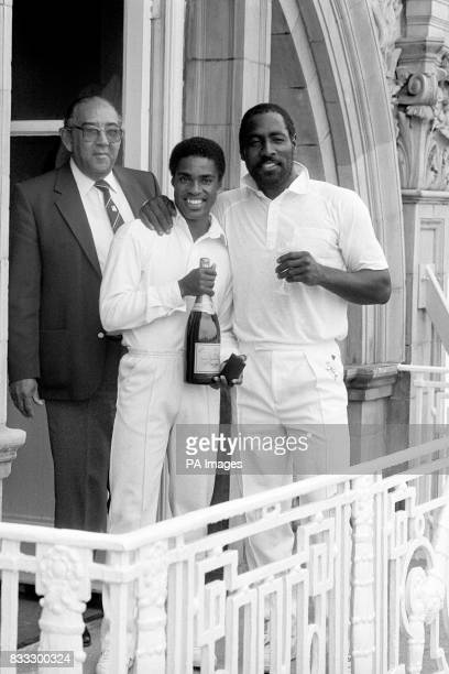west Indies Captain Viv Richards and teammate Gus Logie Man of the Match celebrate winning the second test on its final day