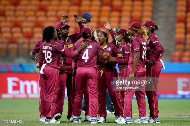 West Indies celebrate the wicket of Heather Knight of England during the ICC T20 Women's World Cup cricket match between England and West Indies at...