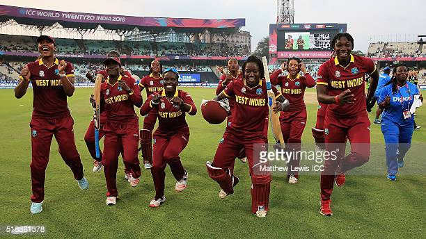 West Indies celebrate their teams win over Australia during the Women's ICC World Twenty20 India 2016 Final between Australia and West Indies at Eden...