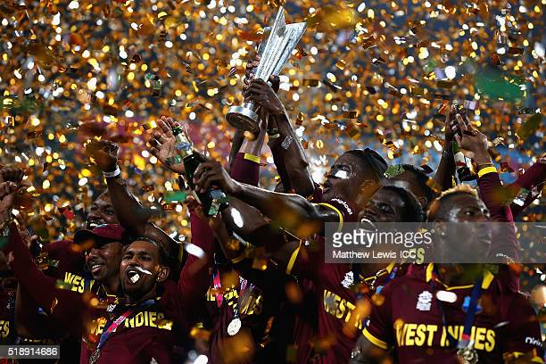 West Indies celebrate their win after defeating England with Dwayne Bravo of the West Indies during the ICC World Twenty20 India 2016 Final between...