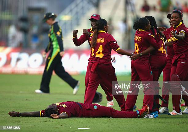 West Indies celebrate victory during the Women's ICC World Twenty20 India 2016 Final match between Australia and West Indies at Eden Gardens on April...