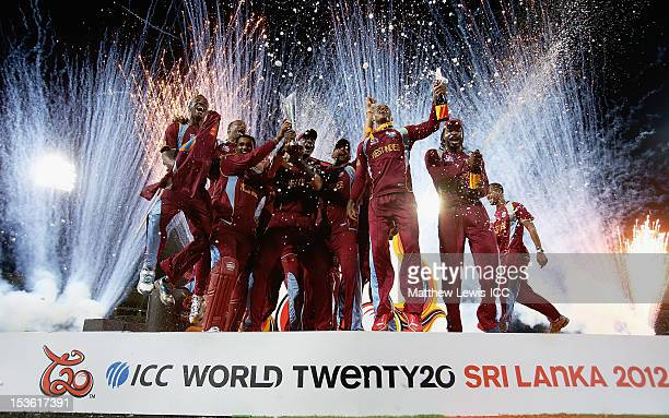 West Indies celebrate winning the ICC World Twenty20 2012 Final between Sri Lanka and West Indies at R Premadasa Stadium on October 7 2012 in Colombo...