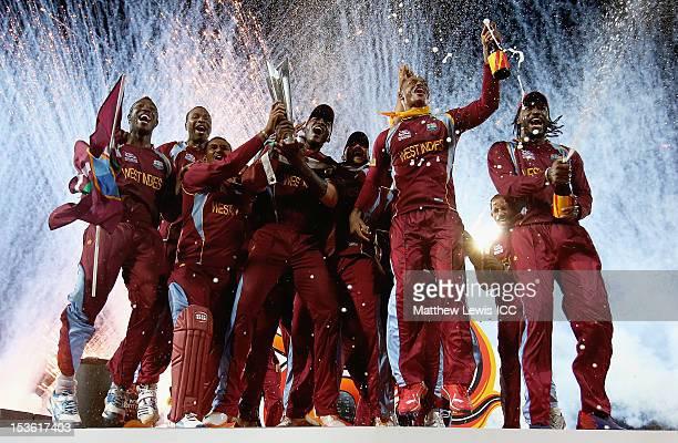 West Indies celebrate winning the ICC World Twenty20 2012 Final between Sri Lanka and West Indies at R. Premadasa Stadium on October 7, 2012 in...