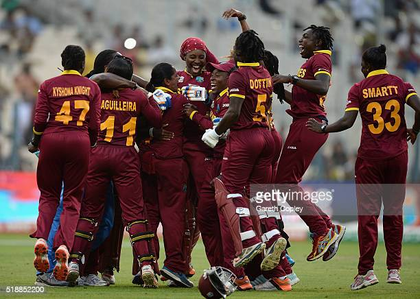 West Indies celebrate winning the Women's ICC World Twenty20 India 2016 Final between Australia and the West Indies at Eden Gardens on April 3 2016...