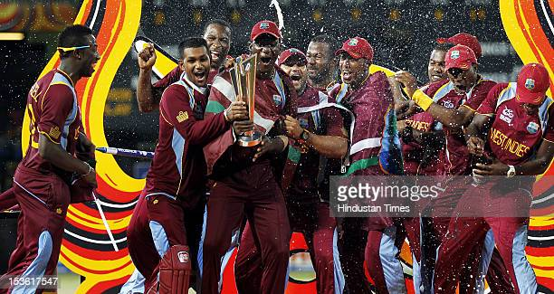 West Indies celebrate with the trophy after winning the ICC World T20 cricket final match against Sri Lanka at R Premadasa Stadium on October 7 2012...