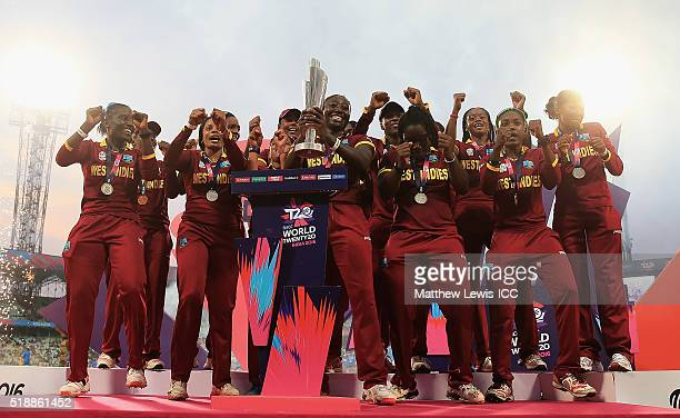 West Indies celebrate with the Women's ICC World Twenty20 tophy after their teams win over Australia during the Women's ICC World Twenty20 India 2016...