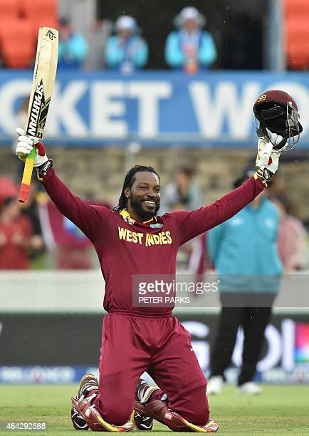 West Indies Chris Gayle celebrates his double century during the 2015 Cricket World Cup Pool B match between the West Indies and Zimbabwe at The...