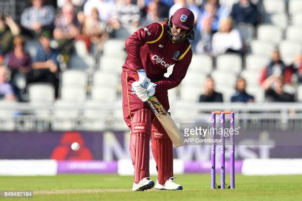 West Indies' Chris Gayle plays a shot during the first OneDay International cricket match between England and the West Indies at Old Trafford...